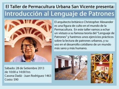 taller de permacultura urbana lenguaje de patrones flyer