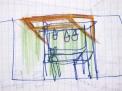 Concepto de cortina verde para la ventana de un habitación