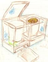 Concepto de composteras enrejadas con lagarto